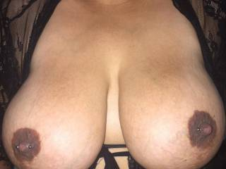 My birthday gift. Wife's pierced nipples