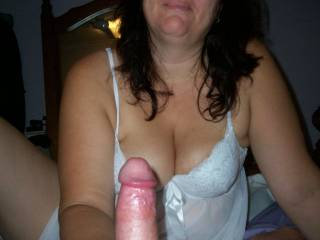 showing off her tool before she devours it