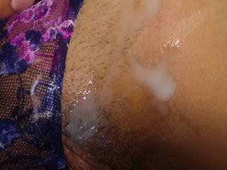 cumshot on these lovely undies and juicy pussie!
