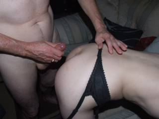 Joanne wanted him to cum over her bum so he did