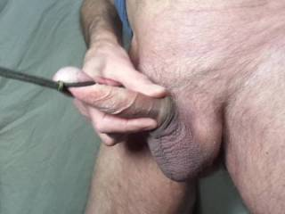 sliding my loose foreskin long my tied cock