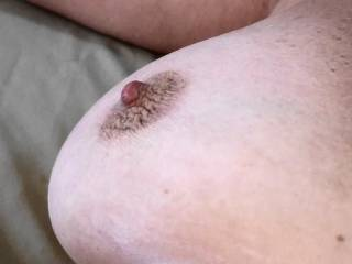 Now that is on drawn up, hard as a rock, tight nipple. And it wasn't cold, just very excited. Do you like this photo?