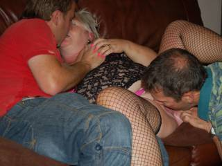 My dirty slutty hotwife Jane 51 entertaining two complete strangers on our couch