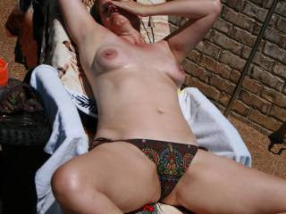 Tanning on the patio.