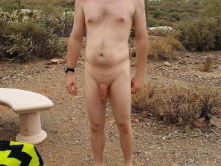 Out on the hiking trail at a nudist ranch