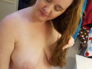 Playing with the hairdryer with hubby... blowing his junk, so to speak!