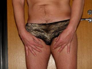 I try on wifes panties...............