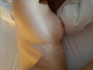 After fucking her tight pussy I shot my load all over her. Anyone else like to be covered in my cum?
