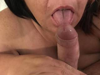 Licking pre cum off his cock