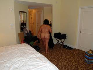 Weekend getaway at a luxury resort.  Hubby took this candid pic of me getting ready for a shower before we went out to dinner.