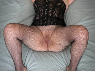 Black corset and fishnets