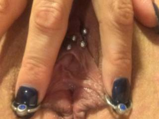 What do y\'all think??? I think she needs two more piercings in that beautiful pussy. What\'s your thoughts???