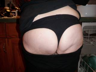 i pulled down her pants while she was doing dishes ,,, any thoughts
