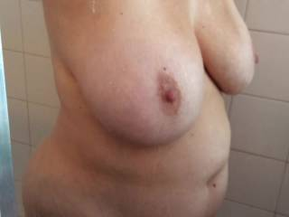 A little wet tee before showering