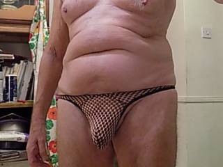 trying on new thong waiting for you to feel the material