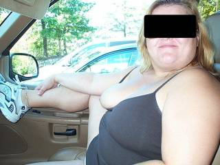 Wife in car showing tits