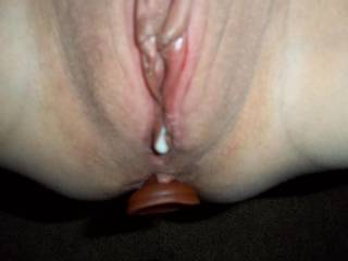 Mmm, his cum is dripping out of my pussy after an awesome pussy pounding with my anal plug in.