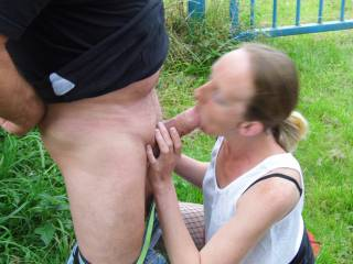 Joanne sucking one of her boyfriends off in front of me