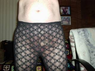 Playing in my see thru tights !