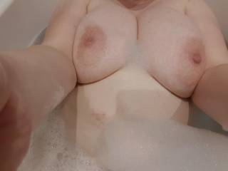 After a hot sweaty gym session I needed a long soak but my boobs are too big so they stick out like mountains
