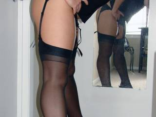Stockings and suspenders this time, hope you all approve x
