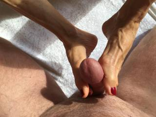 after she handle my cock with her hot feet ... I fuck her asshole. she loves it so much