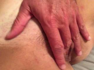 My boyfriend fingering me while the hubby watched. I love to have threesomes!
