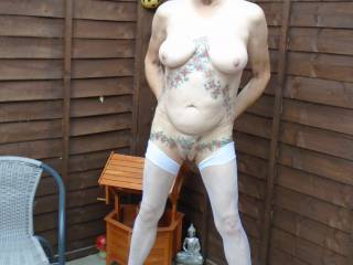Hi all another snap of me in my birthday suite in the garden, hope it meets your approval comments welcome mature couple