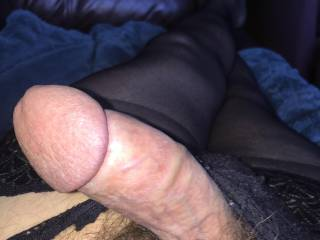 Erect in wife's oabtues and stockings