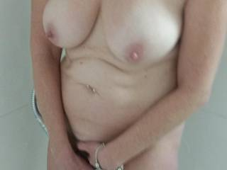 Mrs Ikpm's beautiful breasts on display for me in the shower before a night on the town.