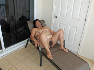 2009 summer vacation!  Lounging in the nude on the condo balcony!
